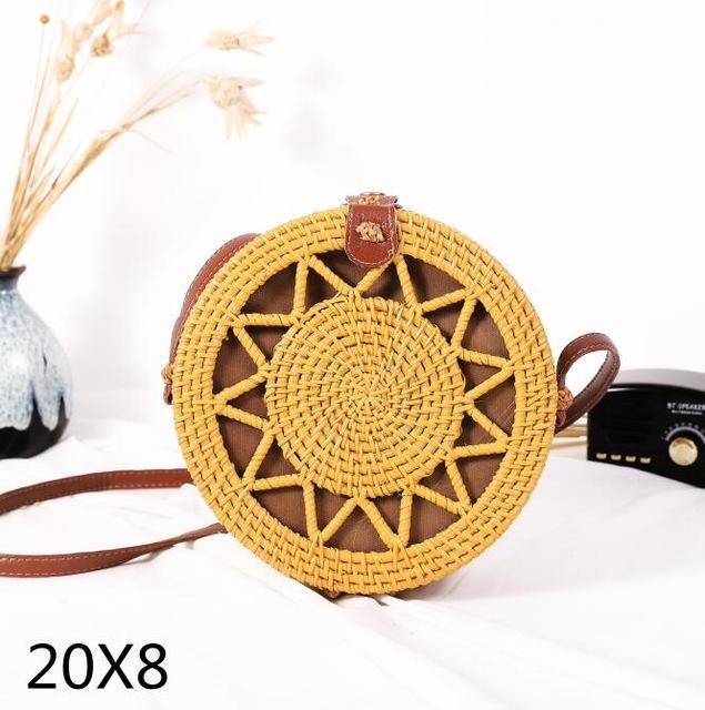 The Bali Island Handmade Woven Rattan Straw Bohemian Shoulder Crossbody Bag Collection Shoulder Bags AOILDLLI Official Store Yellow Star (20cm x 8cm)