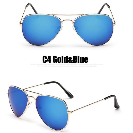 The Outdoor Lover Luxe Pilot Mirror Unisex Eyewear Women's Sunglasses LeonLion Store C4 Gold Blue