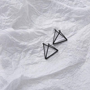 The 3D Geometric Architectural Art Sculpture Hollow Polygon Minimalist Earrings Collection Drop Earrings AllAccessories Online Store Large Black