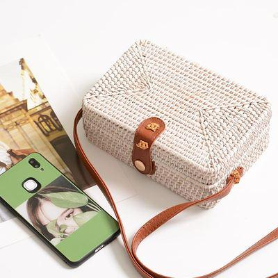 The Bali Island Handmade Woven Rattan Straw Bohemian Shoulder Crossbody Bag Collection Shoulder Bags AOILDLLI Official Store White Rectangle Box