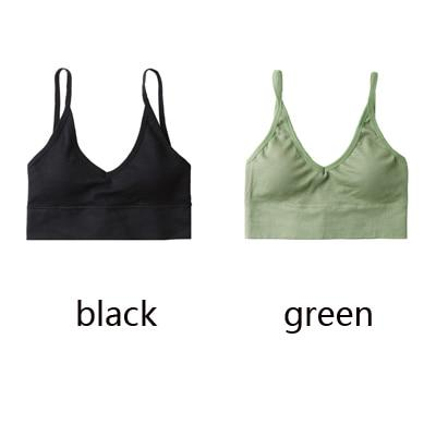 The Comfy Cotton Push Up Wireless Padded Seamless Backless Bralette Bras Milay Store Black + Green Set (2 pcs)