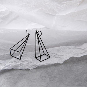 The 3D Geometric Architectural Art Sculpture Hollow Polygon Minimalist Earrings Collection Drop Earrings AllAccessories Online Store Large Black 1