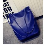 The Bucket Shopping Large Shoulder Crossbody Tote Leather Bag Shoulder Bags Yogodlns Official Store Deep Blue