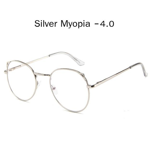 The Metallic Super Cute Doll Tokyo Kawaii Cat Ears Myopia Stylish Frame Glasses Men's Eyewear Frames Zilead Glasses Global Store silver myopia 4.0
