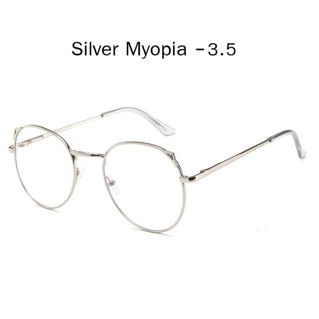 The Metallic Super Cute Doll Tokyo Kawaii Cat Ears Myopia Stylish Frame Glasses Men's Eyewear Frames Zilead Glasses Global Store silver myopia 3.5