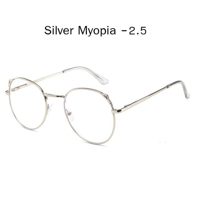 The Metallic Super Cute Doll Tokyo Kawaii Cat Ears Myopia Stylish Frame Glasses Men's Eyewear Frames Zilead Glasses Global Store silver myopia 2.5
