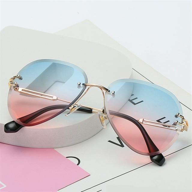 The Invisible Floating Rimless Frameless Gradient Tint Sunglasses Women's Sunglasses Shop4087002 Store Blue Pink