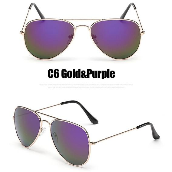 The Outdoor Lover Luxe Pilot Mirror Unisex Eyewear Women's Sunglasses LeonLion Store C6 Gold Purple