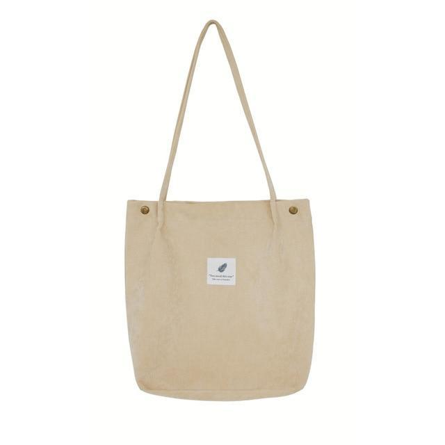 Dream Corduroy Large Shoulder Crossbody Foldable Tote Bag Shoulder Bags Mara's Dream Golden Store Beige