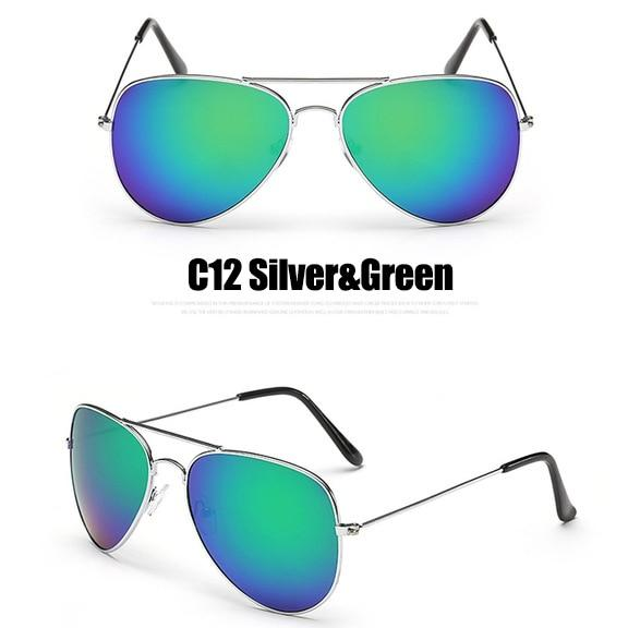 The Outdoor Lover Luxe Pilot Mirror Unisex Eyewear Women's Sunglasses LeonLion Store C12 Silver Green