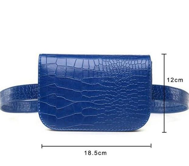 Vintage Alligator Waist Bag Waist Packs DBFashion Store Blue (Big)