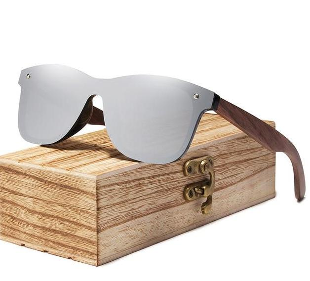 The Eco-Friendly Bamboo Walnut Wood Handmade Unisex Polarized Mirror Lens Sunglasses Online Men's Sunglasses KINGSEVEN Franchised Store Silver Walnut Wood