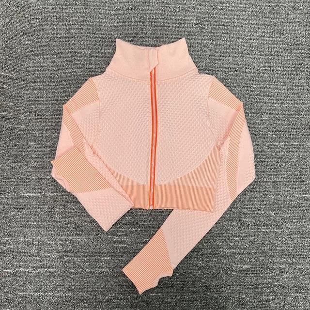 The Warrior Goddess Yoga Gym Seamless High-Waisted Ultra Performance Leggings Sports Bra and Mock Neck Crop Jacket Home AJISSI Sportwear Store Bubblegum Candy Floss Mock Neck Long Sleeve Crop Jacket (1 pcs) S