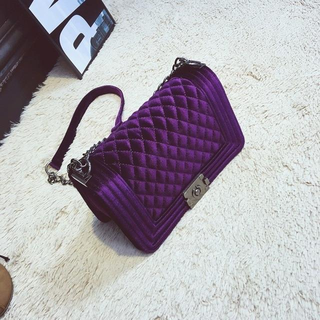 The Bank Vault Luxe Crossbody Shoulder Bag Shoulder Bags runcreavo Official Store Royal Purple Velvet Quilted