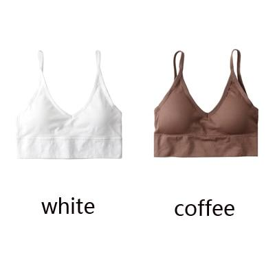 The Comfy Cotton Push Up Wireless Padded Seamless Backless Bralette Bras Milay Store White + Coffee Set (2 pcs)