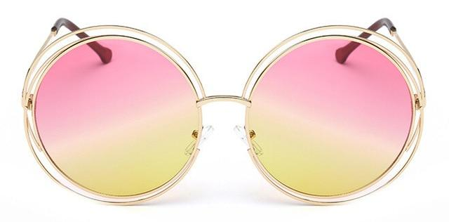 The Classic Retro Over Oversized Glasses Round Circle Stainless Steel Frame Mirror Sunglasses Women's Sunglasses SHENZHEN BO SHI TONG yellow pink