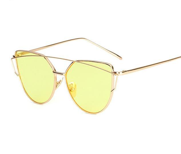 The Cat Eye Vintage Reflective Flat Lens Designer Glasses Aviator Women's Sunglasses ProudDemon Official Store gold yellow O