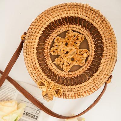 The Bali Island Handmade Woven Rattan Straw Bohemian Shoulder Crossbody Bag Collection Shoulder Bags AOILDLLI Official Store Double Emblem Dark Light w. Bow (20cm x 8cm)