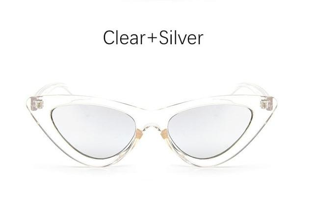 The Oh So Dramatic Triangular Cat Eye Vintage Retro Sunglasses Women's Sunglasses Shop3478042 Store Clear Silver