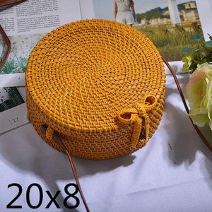 The Bali Island Handmade Woven Rattan Straw Bohemian Shoulder Crossbody Bag Collection Shoulder Bags AOILDLLI Official Store Yellow & Minimal w. Bow (20cm x 8cm)