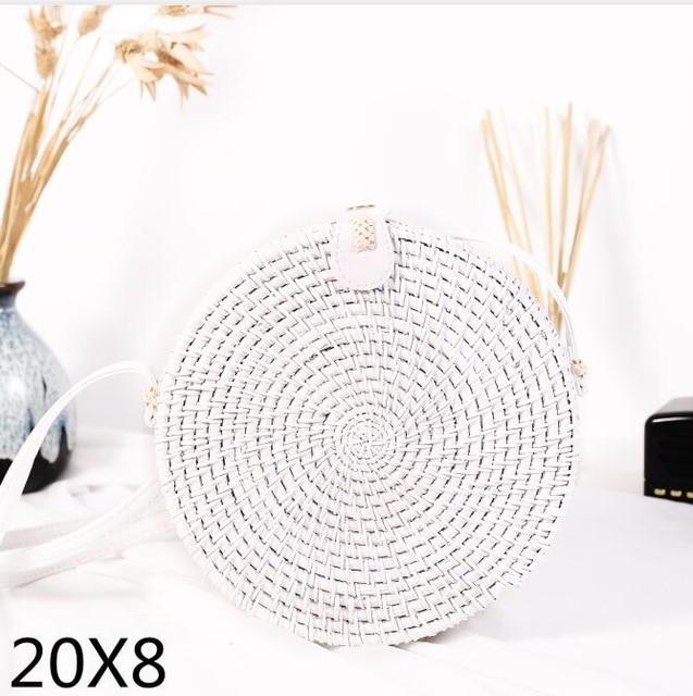 The Bali Island Handmade Woven Rattan Straw Bohemian Shoulder Crossbody Bag Collection Shoulder Bags AOILDLLI Official Store White & Minimal w. Detail (20cm x 8cm)