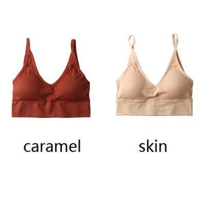 The Comfy Cotton Push Up Wireless Padded Seamless Backless Bralette Bras Milay Store Caramel + Skin Set (2 pcs)