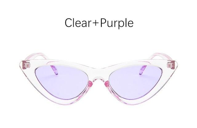 The Oh So Dramatic Triangular Cat Eye Vintage Retro Sunglasses Women's Sunglasses Shop3478042 Store Clear Purple