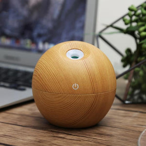 The Eco-Friendly USB Essential Oil Aroma Diffuser, Ultrasonic Cool Mist Air Purifier Humidifier, AND 7 LED Colour Changing Night Light Ball of Wonder Humidifiers KBAYBO Official Store Apple Wood (Light) (Style B)