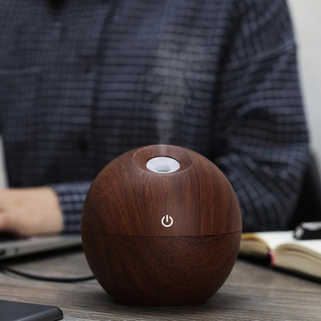 The Eco-Friendly USB Essential Oil Aroma Diffuser, Ultrasonic Cool Mist Air Purifier Humidifier, AND 7 LED Colour Changing Night Light Ball of Wonder Humidifiers KBAYBO Official Store Kaya Mahogany (Dark) (Style B)