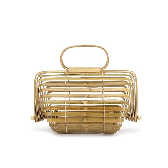 Artsy Handmade Collapsible Hollow Woven Organic Bamboo Shopping Handbag Top-Handle Bags Lovevook Official Store Yellow/Natural (Large)
