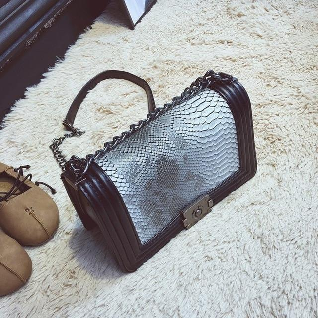 The Bank Vault Luxe Crossbody Shoulder Bag Shoulder Bags runcreavo Official Store Gray Ombre Snake w. Black Trim
