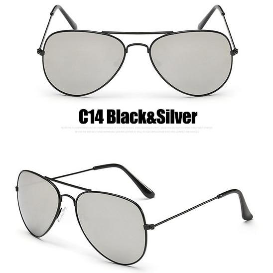 The Outdoor Lover Luxe Pilot Mirror Unisex Eyewear Women's Sunglasses LeonLion Store C14 Black Silver