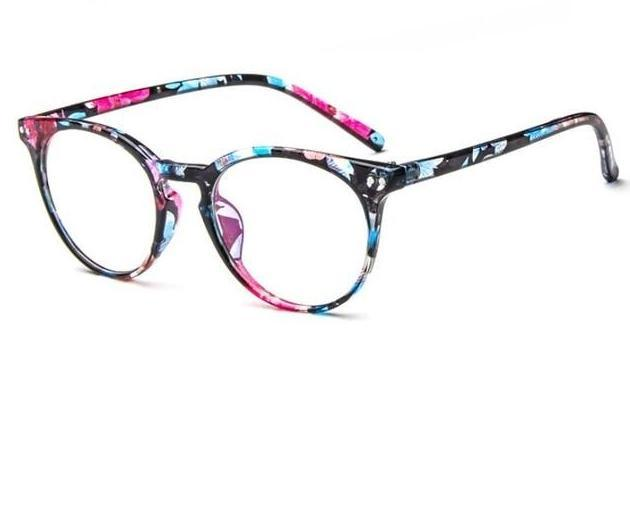 Put Some Quirky Flair Into Your Daily Looks With Vintage Round Clear Eyeglasses Frames Men's Eyewear Frames Yaobo Glasses Store BLUE FLOWER