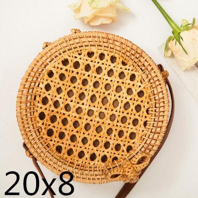 The Bali Island Handmade Woven Rattan Straw Bohemian Shoulder Crossbody Bag Collection Shoulder Bags AOILDLLI Official Store Light Honeycomb (20cm x 8cm)
