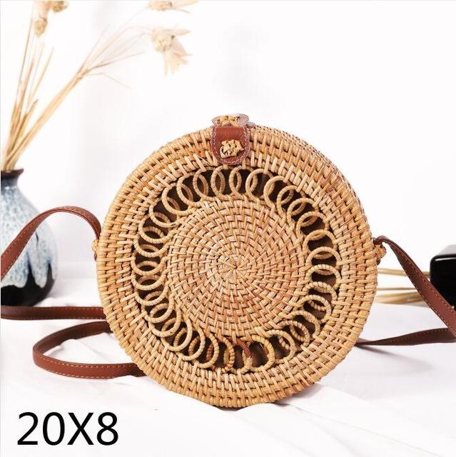 The Bali Island Handmade Woven Rattan Straw Bohemian Shoulder Crossbody Bag Collection Shoulder Bags AOILDLLI Official Store The Sun (20cm x 8cm)