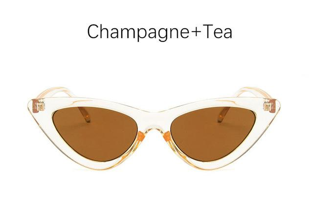 The Oh So Dramatic Triangular Cat Eye Vintage Retro Sunglasses Women's Sunglasses Shop3478042 Store Champagne Tea