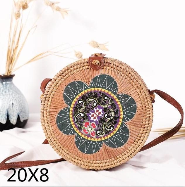 The Bali Island Handmade Woven Rattan Straw Bohemian Shoulder Crossbody Bag Collection Shoulder Bags AOILDLLI Official Store Green Mystical Flower and Natural w. Detail (20cm x 8cm)