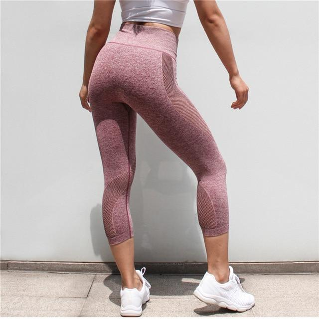 The All-Season 3/4 Length Seamless Mesh Tummy Control Runners' and Yogis' Capri Leggings Yoga Pants COLORVALUE Official Store Purple Red S
