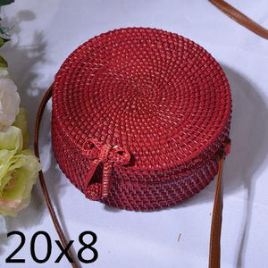 The Bali Island Handmade Woven Rattan Straw Bohemian Shoulder Crossbody Bag Collection Shoulder Bags AOILDLLI Official Store Red & Minimal w. Bow (20cm x 8cm)