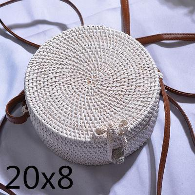 The Bali Island Handmade Woven Rattan Straw Bohemian Shoulder Crossbody Bag Collection Shoulder Bags AOILDLLI Official Store White & Minimal w. Bow (20cm x 8cm)