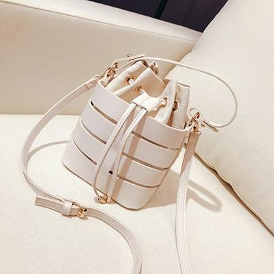 Hollow Bucket Shoulder Crossbody Bag Shoulder Bags ZLY Bag Store White