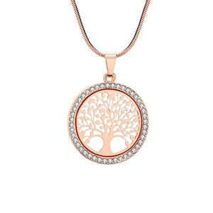 Environmentally Friendly Divine Matrix Tree Of Life Crystal Round long Chain Pendant Necklace Pendant Necklaces PengJin Stylish Store Rose Gold