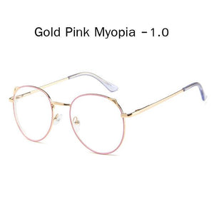 The Metallic Super Cute Doll Tokyo Kawaii Cat Ears Myopia Stylish Frame Glasses Men's Eyewear Frames Zilead Glasses Global Store gold pink myopia 1.0