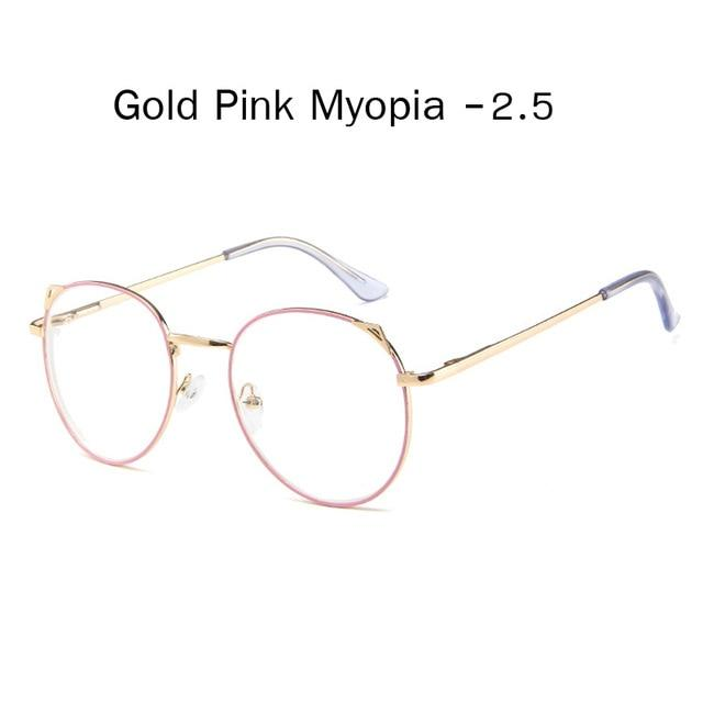 The Metallic Super Cute Doll Tokyo Kawaii Cat Ears Myopia Stylish Frame Glasses Men's Eyewear Frames Zilead Glasses Global Store gold pink myopia 2.5