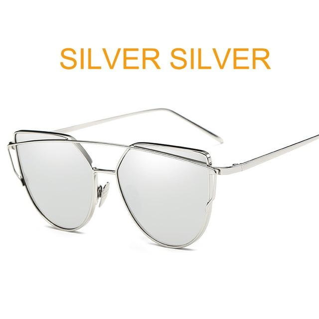 The Cat Eye Vintage Reflective Flat Lens Designer Glasses Aviator Women's Sunglasses ProudDemon Official Store silver silver