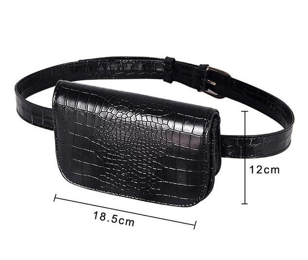 Vintage Alligator Waist Bag Waist Packs DBFashion Store Black (Big)