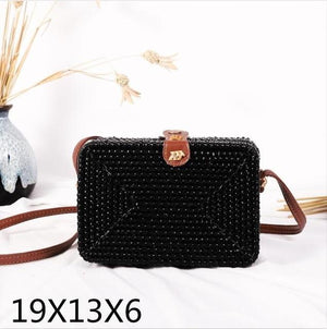 The Bali Island Handmade Woven Rattan Straw Bohemian Shoulder Crossbody Bag Collection Shoulder Bags AOILDLLI Official Store Black Rectangle Box (19cm x 13cm x 6cm)