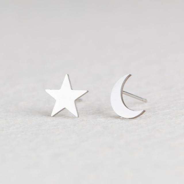 Silver Stainless Steel Super Cute Minimalist Geometric Stud Earrings Collection Stud Earrings Shine Lives Store Moon Star