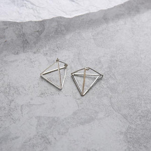 The 3D Geometric Architectural Art Sculpture Hollow Polygon Minimalist Earrings Collection Drop Earrings AllAccessories Online Store Large Silver