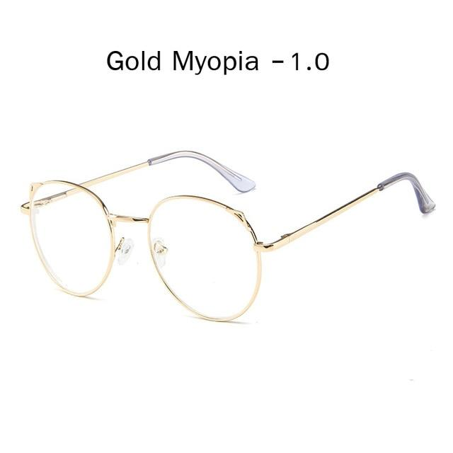 The Metallic Super Cute Doll Tokyo Kawaii Cat Ears Myopia Stylish Frame Glasses Men's Eyewear Frames Zilead Glasses Global Store gold myopia 1.0